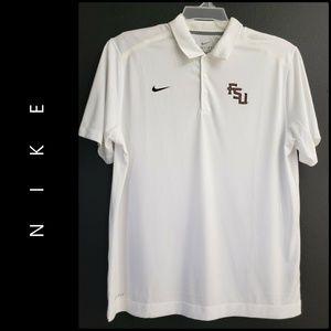 Nike Men FSU Dri Fit Polo Shirt Size XL White